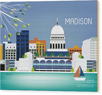 Madison Wisconsin Horizontal Skyline Wood Print by Karen Young