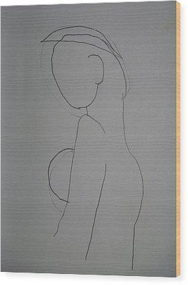 Wood Print featuring the drawing Madona by Beto Machado