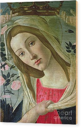 Madonna And Child Crowned By Angels Wood Print by Sandro Botticelli