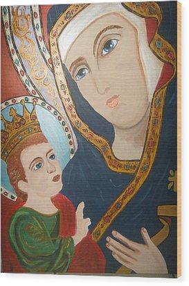 Madonna And Child Wood Print by Demetria Kelley