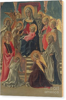 Madonna And Child Enthroned With Angels And Saints Wood Print by Fra Filippo Lippi
