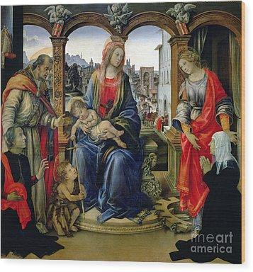 Madonna And Child Wood Print by Filippino Lippi