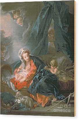 Madonna And Child Wood Print by Francois Boucher