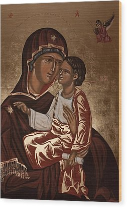 Wood Print featuring the painting Madonna And Child by Olimpia - Hinamatsuri Barbu