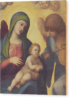 Madonna And Child With Angels Wood Print by Correggio