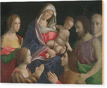 Madonna And Child With Saint John The Baptist Two Saints And Donors Wood Print by Vincenzo di Biagio Catena