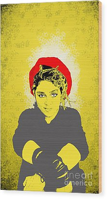 Wood Print featuring the drawing Madonna On Yellow by Jason Tricktop Matthews