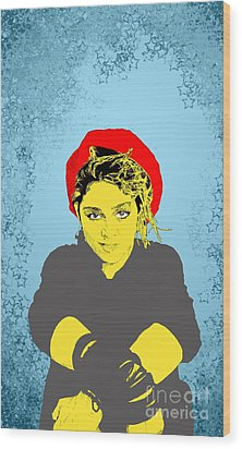 Wood Print featuring the drawing Madonna On Blue by Jason Tricktop Matthews