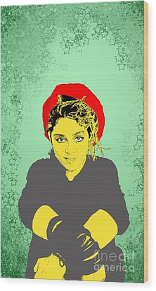 Wood Print featuring the drawing Madonna On Green by Jason Tricktop Matthews