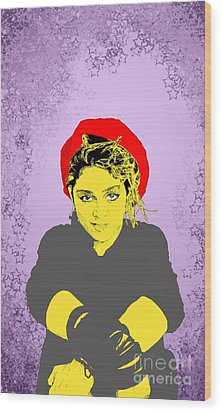 Wood Print featuring the drawing Madonna On Purple by Jason Tricktop Matthews