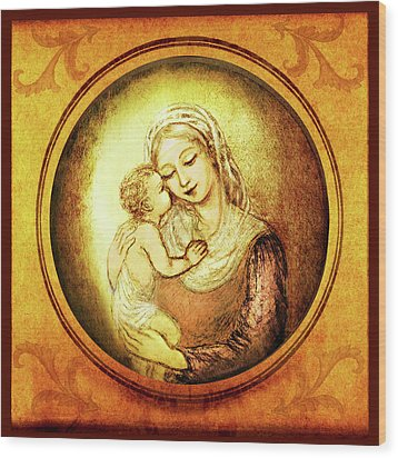 Madonna With The Kissing Child - In Golden Frame Wood Print by Ananda Vdovic