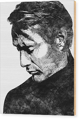 Mads Mikkelsen Wood Print by Mihaela Pater