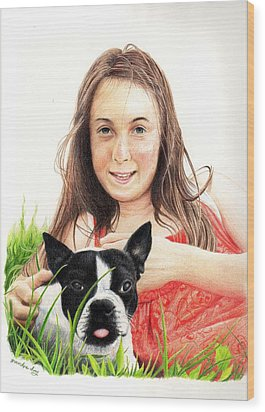 Wood Print featuring the drawing Madyson And Cooper by Mike Ivey