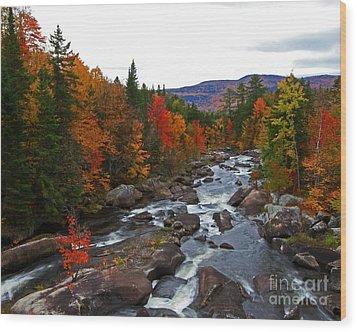 Magalloway River In Fall Wood Print