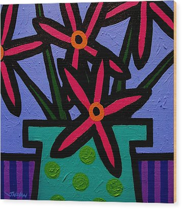 Magenta Flowers Wood Print by John  Nolan