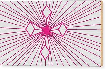 'magenta Lines 1' Wood Print