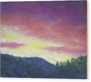 Magenta Sunset Oil Landscape Wood Print by Judith Cheng