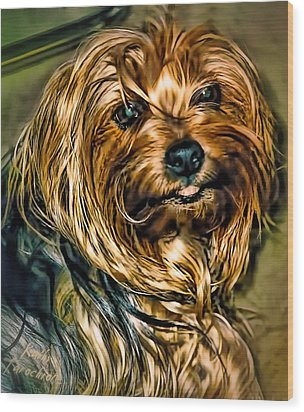 Maggie Smiles Wood Print by Kathy Tarochione
