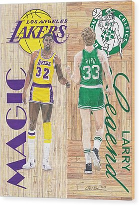 Magic Johnson And Larry Bird Wood Print by Chris Brown