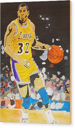 Magic Johnson Wood Print by Estelle BRETON-MAYA