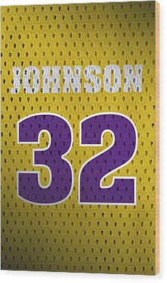 Magic Johnson Los Angeles Lakers Number 32 Retro Vintage Jersey Closeup Graphic Design Wood Print by Design Turnpike