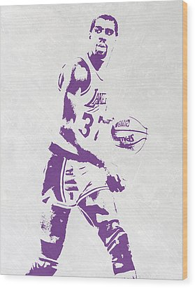 Magic Johnson Los Angeles Lakers Pixel Art Wood Print by Joe Hamilton