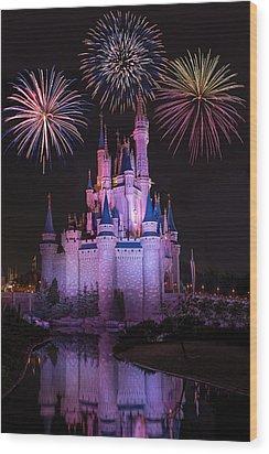 Magic Kingdom Castle Under Fireworks Wood Print