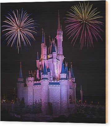 Magic Kingdom Castle Under Fireworks Square Wood Print