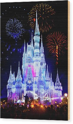 Magic Kingdom Fireworks Wood Print