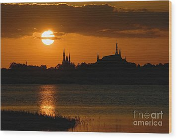 Magic Kingdom Sunset Wood Print