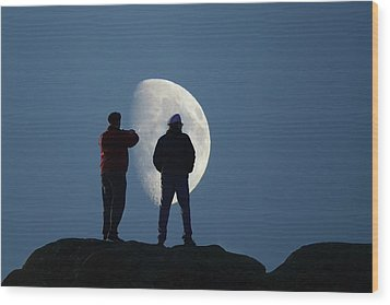 Magic Landscapes 2 -- Moon Men Wood Print by Rick Lawler