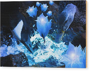 Magic Water Flowers  Wood Print by Cathy  Beharriell