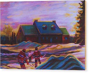 Magical Day For Hockey Wood Print by Carole Spandau