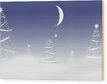Magical Moon Wood Print by Maria Dryfhout