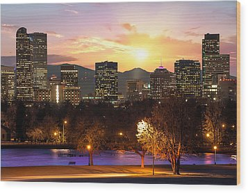 Magical Mountain Sunset - Denver Colorado Downtown Skyline Wood Print by Gregory Ballos