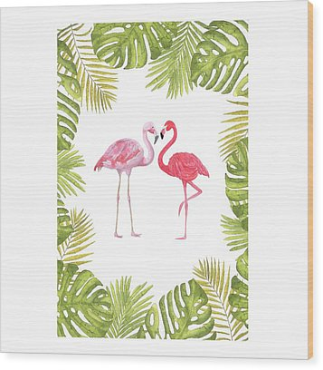 Wood Print featuring the painting Magical Tropicana Love Flamingos And Leaves by Georgeta Blanaru