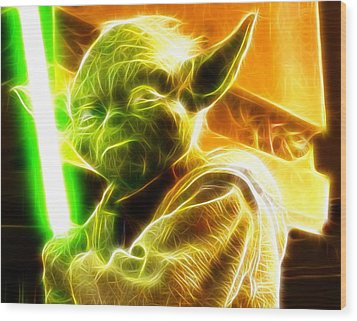 Magical Yoda Wood Print by Paul Van Scott
