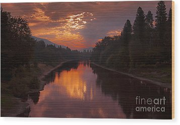 Magnificent Clouds Over Rogue River Oregon At Sunset  Wood Print