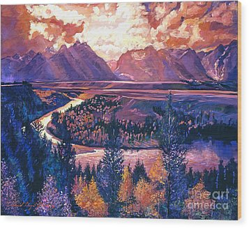 Magnificent Grand Tetons Wood Print by David Lloyd Glover