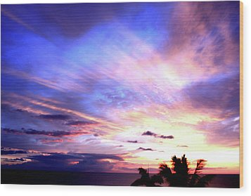 Magnificent Sunset Wood Print by Karen Nicholson