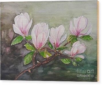 Magnolia Blossom - Painting Wood Print