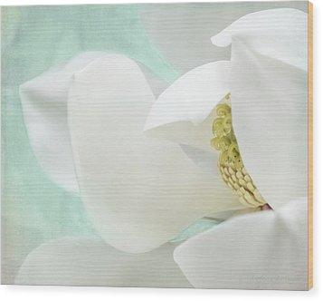 Magnolia Blossom, Soft Dreamy Romantic White Aqua Floral Wood Print