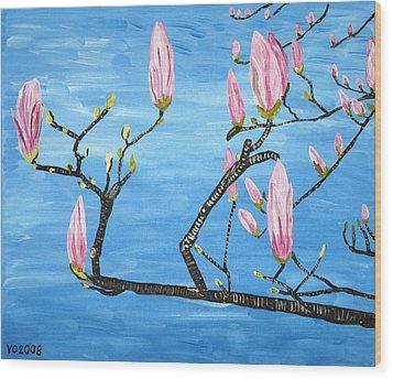 Magnolia Blossom Wood Print by Valerie Ornstein