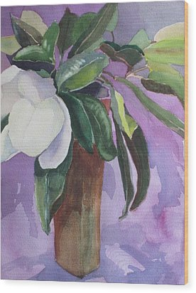 Wood Print featuring the painting Magnolia by Elizabeth Carr