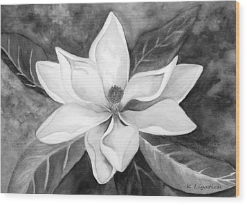 Magnolia In Black And White Wood Print by Kerri Ligatich