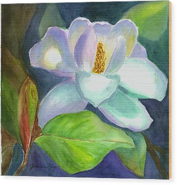 Wood Print featuring the painting Magnolia by Jeanne Kay Juhos
