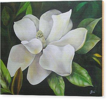 Magnolia Oil Painting Wood Print