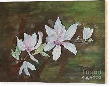 Magnolia - Painting  Wood Print