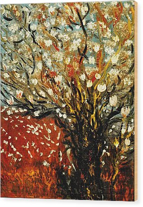 Wood Print featuring the painting Magnolia Tree by Evelina Popilian