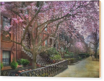 Wood Print featuring the photograph Magnolia Trees In Spring - Back Bay Boston by Joann Vitali